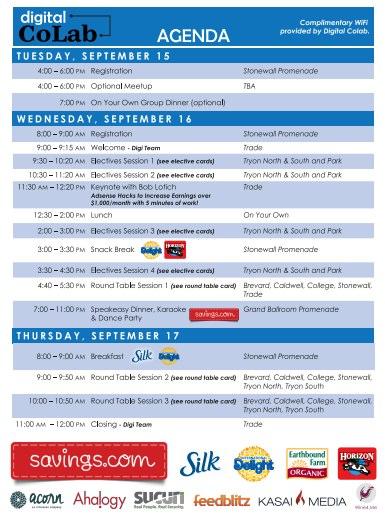 2015 Digital CoLab Event Schedule